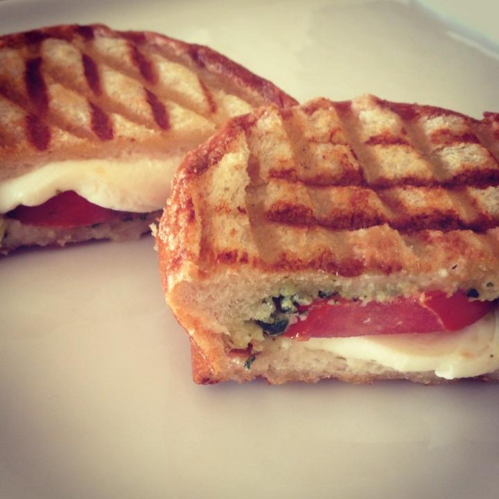 Fancy Grilled Cheese // Tomato Mozzarella Pesto