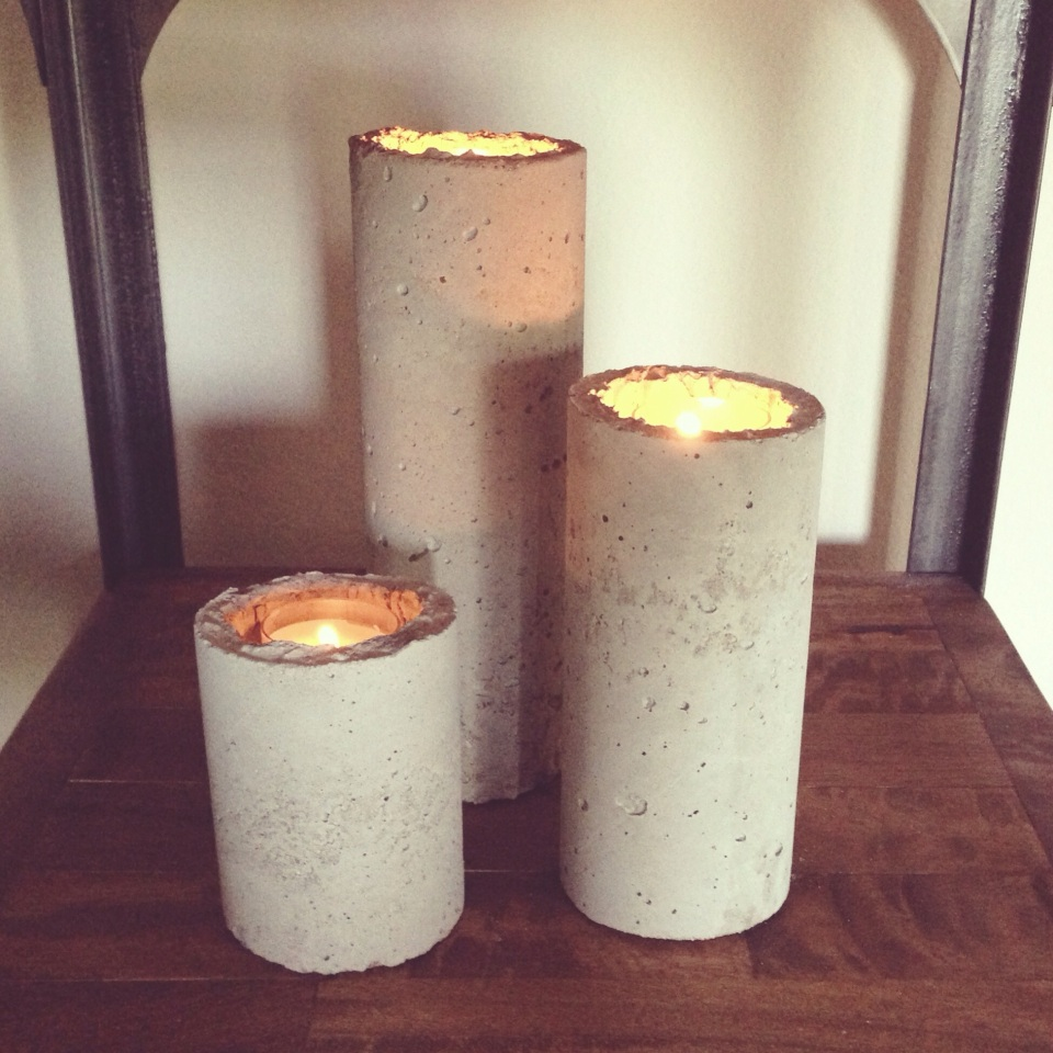 concrete candle holders industrial diy. Black Bedroom Furniture Sets. Home Design Ideas