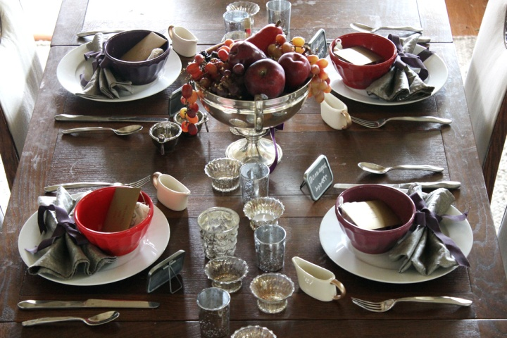 Burgandy and Plum Thanksgiving Tablescape Gusto and Grace