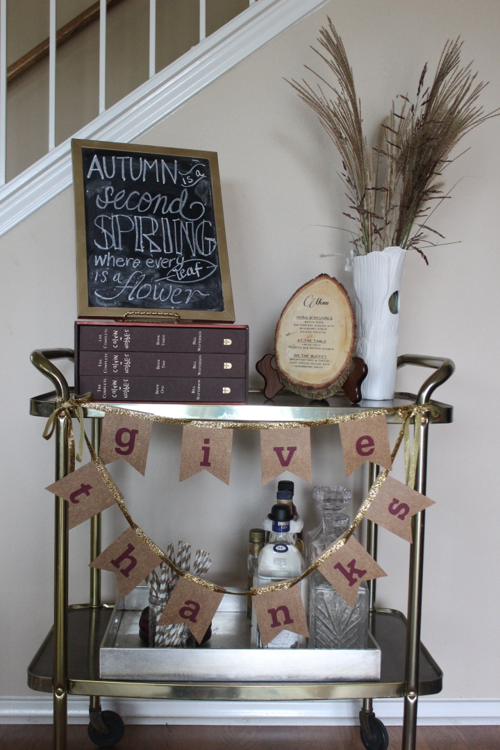 Thanksgiving Styled Bar Cart www.gustoandgraceblog.com