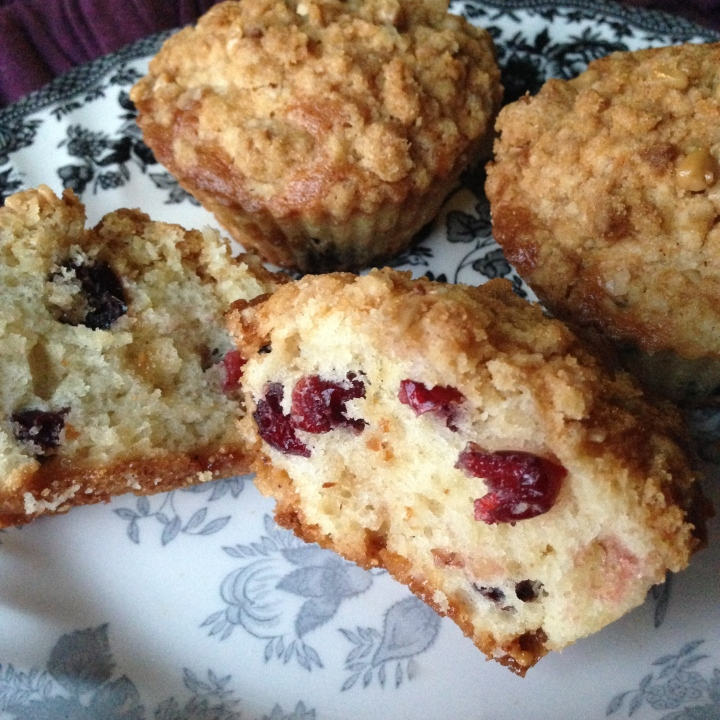 Cranberry Toffee Muffins with Crumble Topping