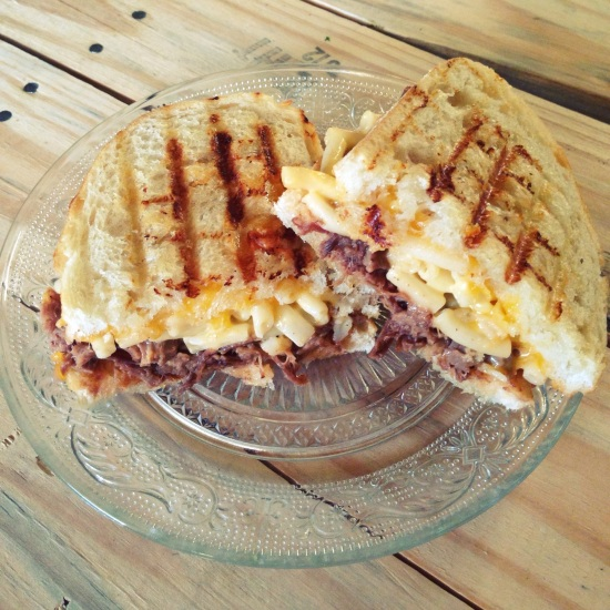 Barbecue and Mac n Cheese Grilled Cheese Sandwich