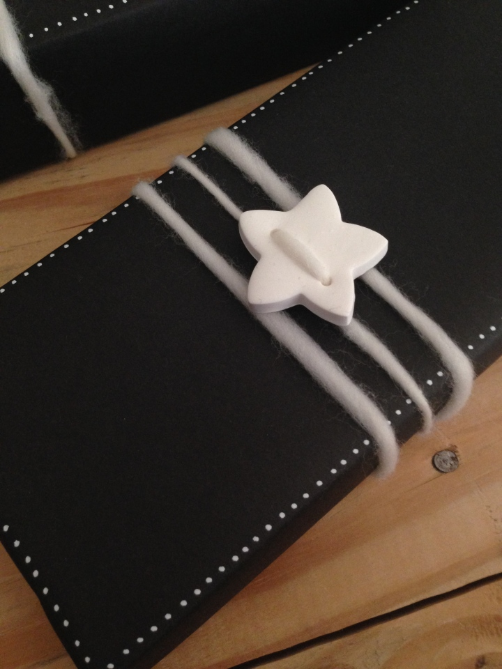 Chalkboard Gift Wrap with DIY Clay Star Buttons