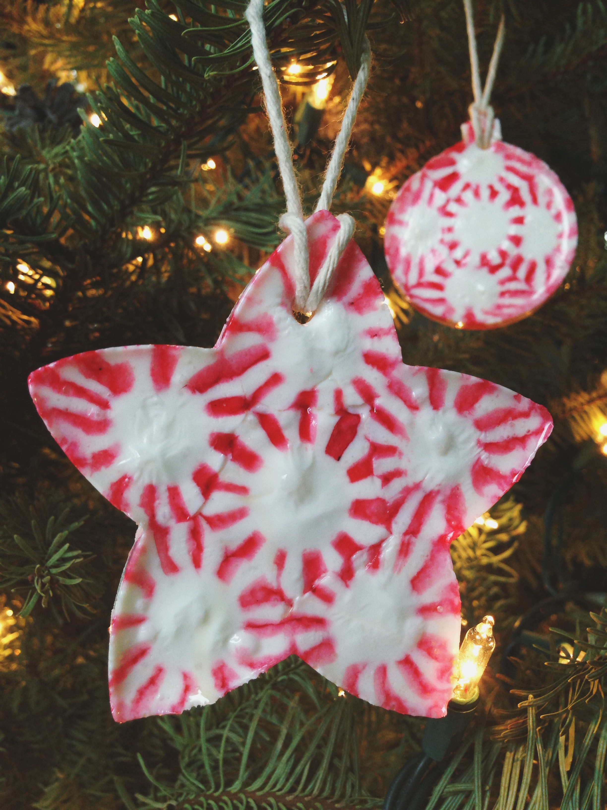 Peppermint candy christmas ornaments for Homemade christmas ornaments to make