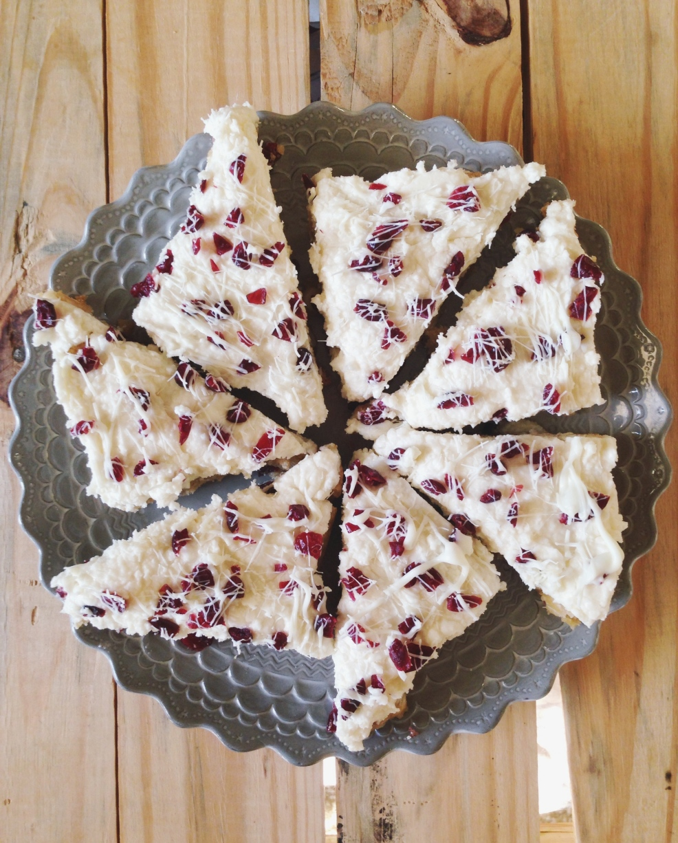 Cranberry Bliss Bars with Cream Cheese Frosting