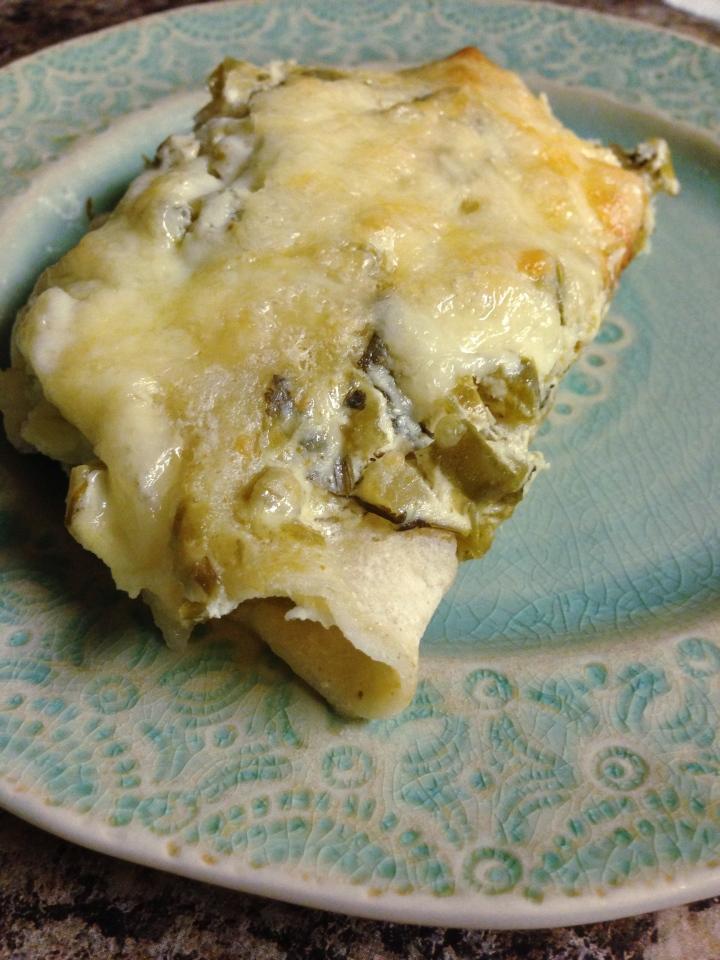 Sour Cream Salsa Verde Chicken Enchiladas