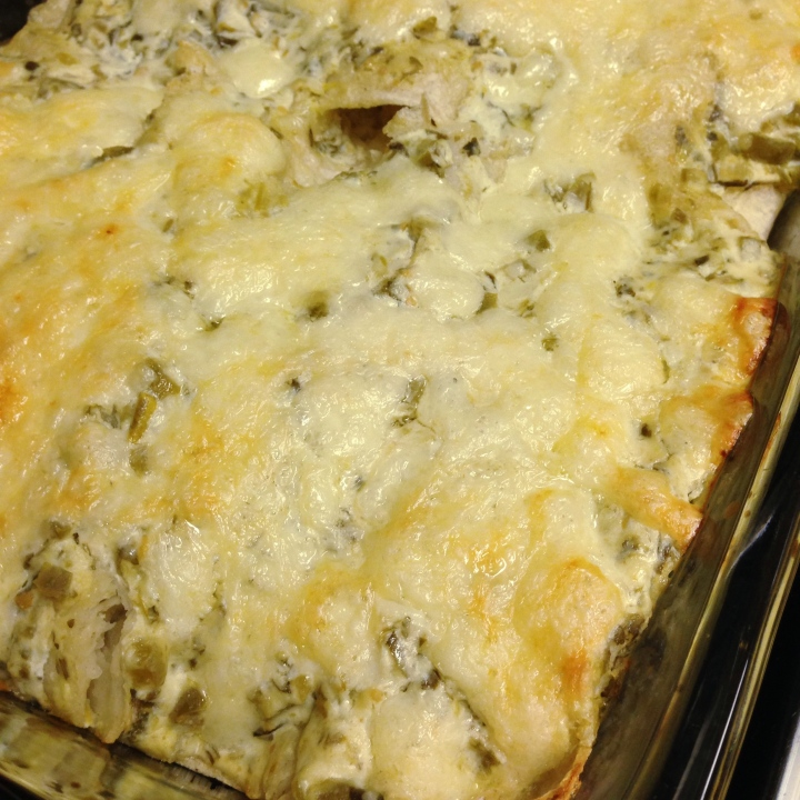 Sour Cream Salsa Verde Chicken Enchiladas