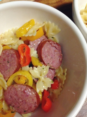 Ranch Pasta with Smoked Sausage and Mini Sweet Peppers