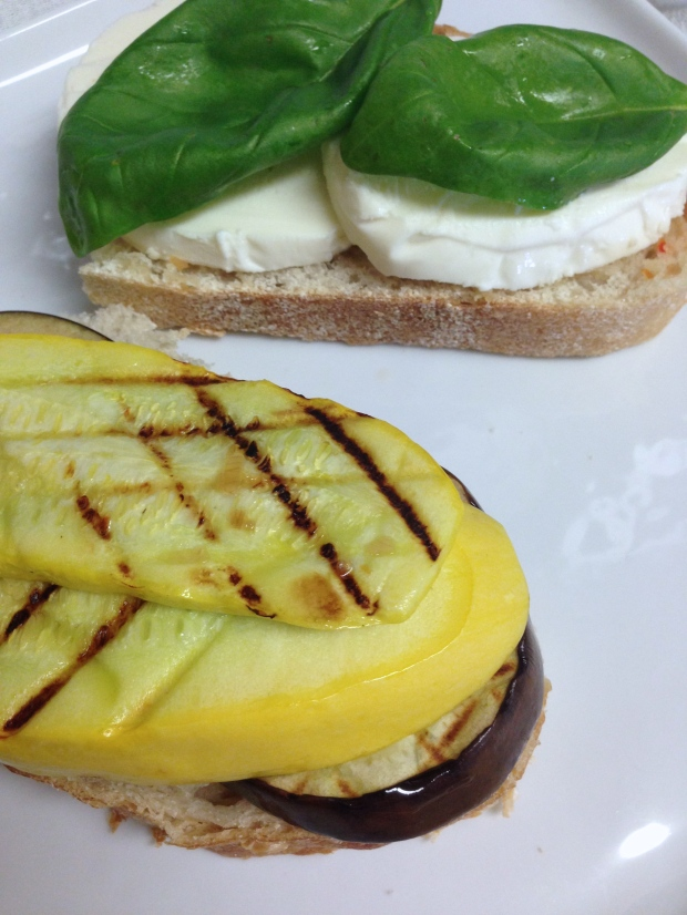 Grilled Eggplant and Squash Panini with Fresh Mozzarella