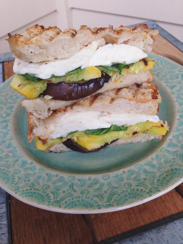 Grilled Eggplant and Squash Panini with Fresh Mozzarella