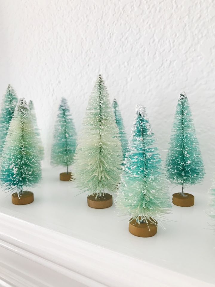 Aqua & Mint Bottle Brush Trees Tutorial